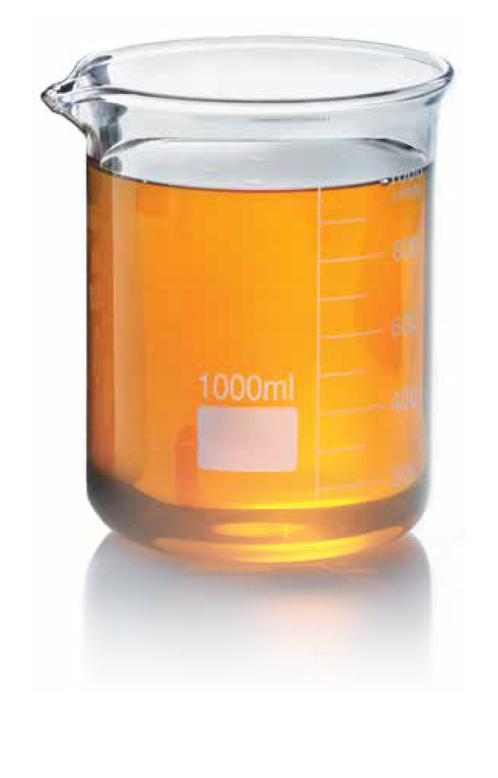 Genuine motor oil in beaker