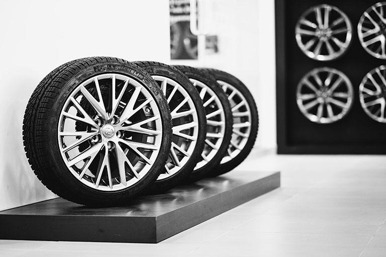 Lexus tires on a display