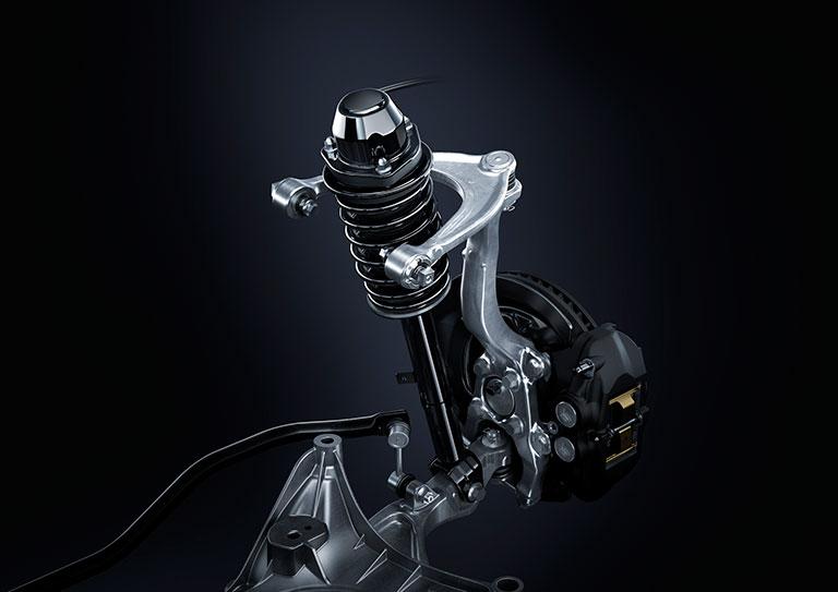 close-up of Lexus F-sport suspension