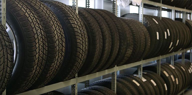 Tires on rows of shelves