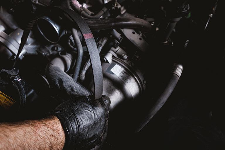 Lexus mechanic servicing a timing belt in car
