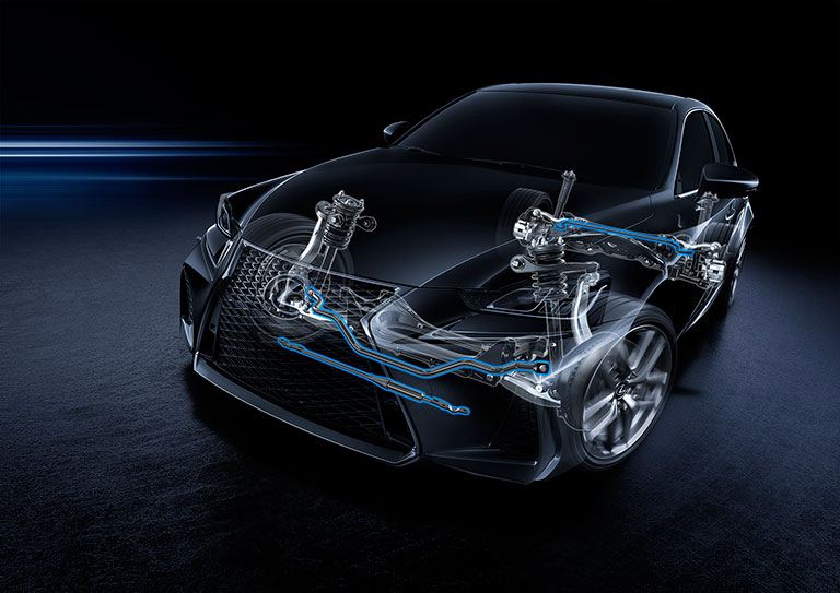 X-ray view of Lexus suspension and shock absorbers