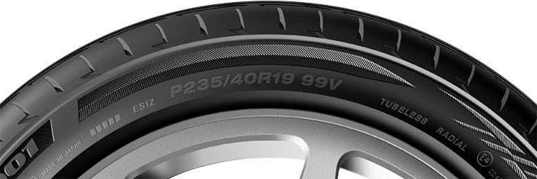 Close-up of passenger car tire P-metric size